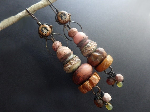 Hiraeth. Long rustic assemblage earrings in salmon peach.