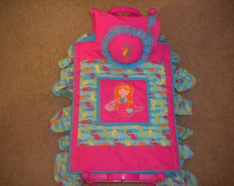 Mermaid and Seahorse Doll Bedding for Amrican Girl Dolls or Most 18 inch Dolls