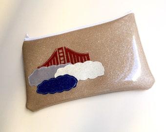 Zipper Pouch - Glitter Golden Gate Bridge - Lined