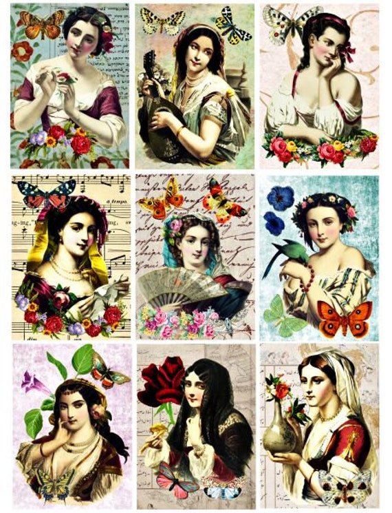 Victorian Beauties Printable Digital Collage Sheet 2.5x3.5 inch Gift Tags Greeting Cards Ephemera Vintage flowers Paper Craft