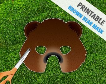 Brown Bear Printable Halloween Mask, Party Mask, Printable PDF