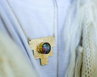 OPAL AMULET PENDANT / opal necklace