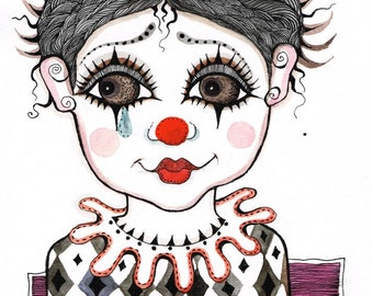 Little Clown- watercolor painting- ink drawing- original painting- red black - portrait painting- illustration- home decor- wall decor