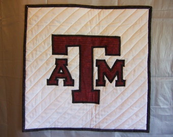 Texas A & M  Quilted wall hanging Black backing