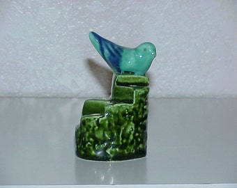 Vintage--Pottery--Flower Frog--Blue Bird On Tiered Stump--Flower Arranging