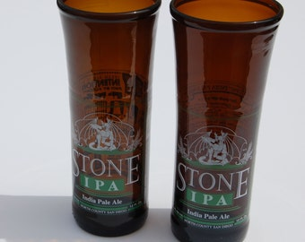 Set of two Stone IPA Beer Bottle Glasses