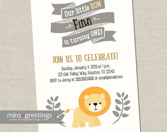 Lion Birthday Party Invitations - Little Lion Invites Woodland Birthday Party Invites - vintage baby first birthday (Printable Digital File)