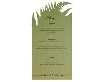 Fern Menu Cards - Unique, Cutout, Natural Wedding Accessory