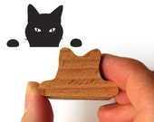 Cat Rubber Stamp, Cheeky Wooden Peeping Tom Kitty Stamp for Cat Lovers