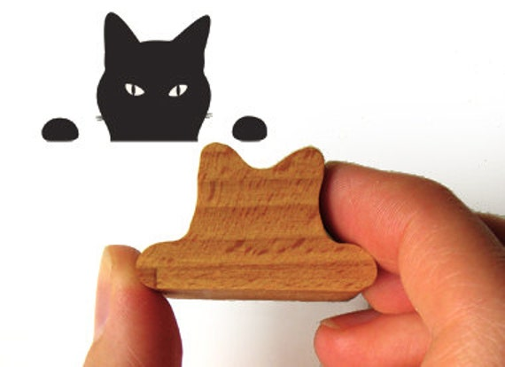 Cat Stamp, Peeping Tom Kitty Rubber Stamp for Crazy Cat Lovers