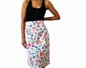 French Vintage 80s Jacquard Flowers Motif Pencil Skirt