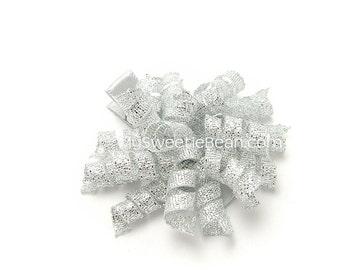 Silver Korker Bow, Metallic Korker Clip, Holiday Mini Korker Barrette, Metallic Silver Corker Clip Baby Korker Toddler Girl Children Holiday