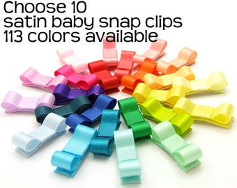 Pick 10 Baby Hair Clips, Tiny Bows for Babies, Mini Snap Clips Satin Tuxedo Bows, No Slip Baby Bows for Fine Hair, Itty Bitty Infant Bows