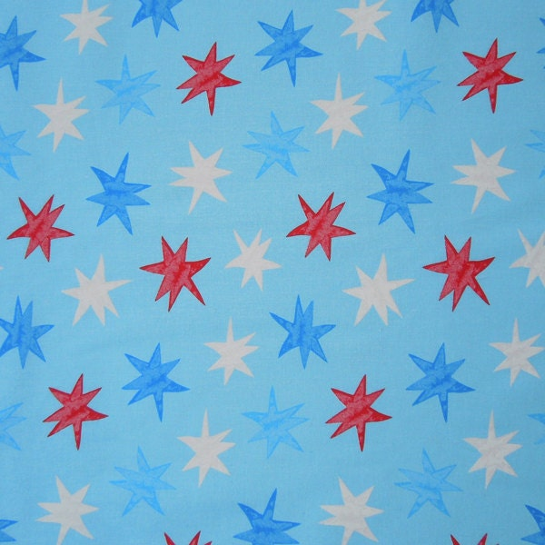 Blue seaside stars cotton fabric red blue and white for Star fabric australia