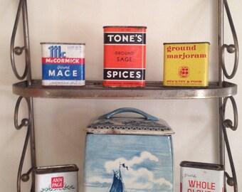 Vintage metal kitchen shelf/ spice rack