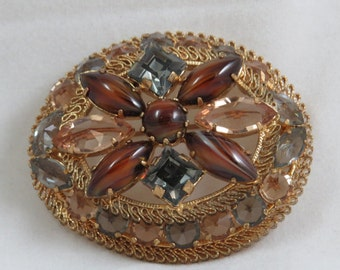 Vintage Brooch Filigree Gold Plated Made in Austria