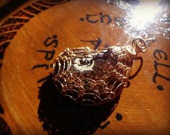 AMMONITE Viking Knit Bezel Wrapped Pendant Number One - Bronze Wire - Metaphysical - Sacred - Magic - Reiki - Chakras - Energy - Akasha
