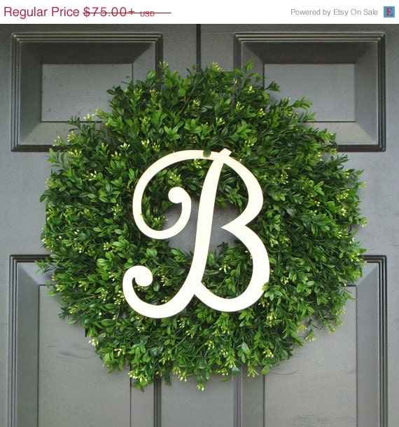 Monogram Boxwood Wreath, Boxwood Wreath with Personal Initial, Fall Wreath, Front Door Decor, Etsy Wreath