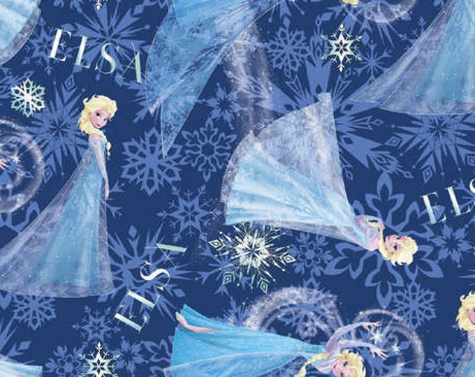Frozen Fabric  Elsa Character Tossed Multi Blue Cotton Children's  Fabric by Springs Creative