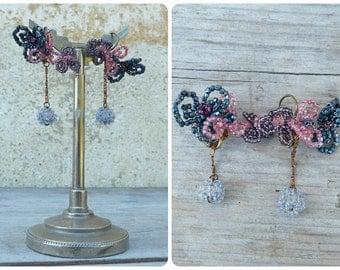 Art nouveaux Handmade in France blue purple pink flower bouquet earrings on leverbacks