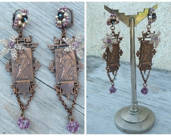 Geishas handmade in France beaded Japanese findings brass copper colored on leverbacks