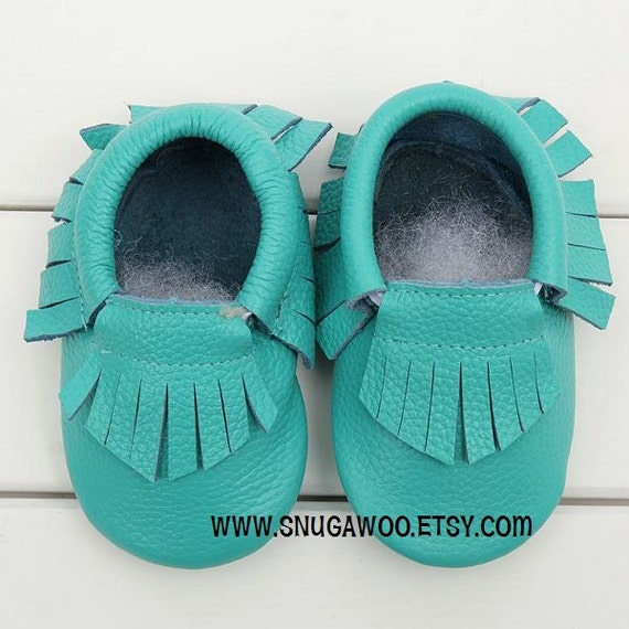 9-15mo TURQUOISE baby moccasin shoes slip-on baby shoe