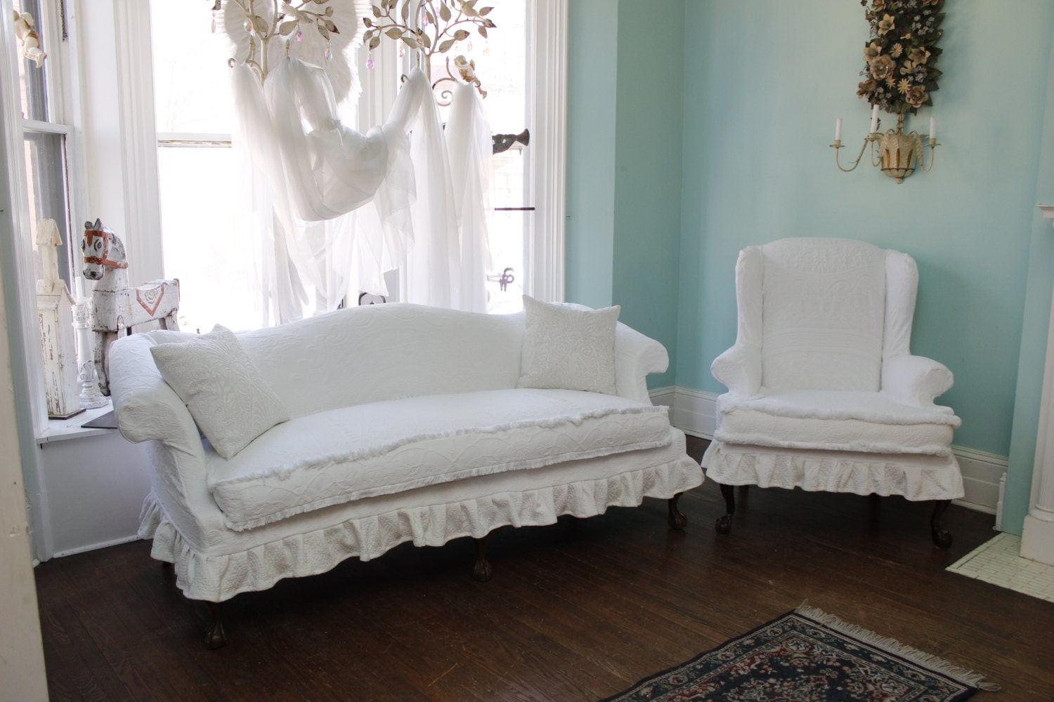 2 Pc Shabby Chic Ruffle Slipcovered Sofa By Vintagechicfurniture