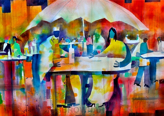 Summer Bistro Watercolor Painting African American Art Cafe