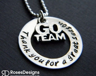Sterling Coach Necklace, Thank you for a great season, Team Necklace, Coaches Gifts, Sports Jewelry, by RosesDesigns
