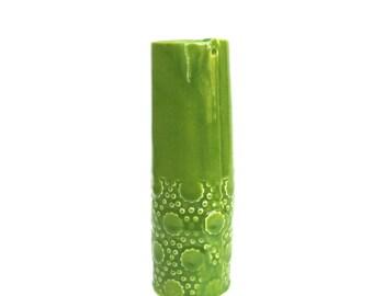 wonderful whimsical hand built porcelain vase ...  vessel  ...   kiwi green