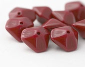 Vintage Wine Red Etched Beveled Saucer Lucite Beads 17mm (10)