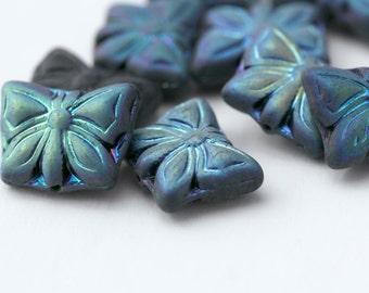 Czech Glass Beads Vitrail Jet Black AB Butterfly Beads 11x15mm (10)