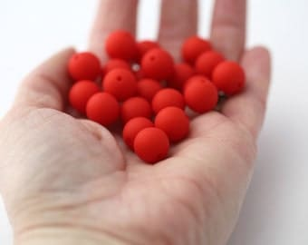 Vintage Red Round Matte Lucite Beads 11mm (20)