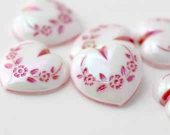 Vintage Cabochons Lucite Pink Red White Etched German Heart Cabs AB 18mm (8)