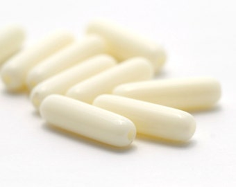 Vintage Lucite Ivory Oval Tube Beads 21mm West Germany (10)