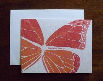 BIRTHDAY : Birthday Beauty Butterfly Card, Pink