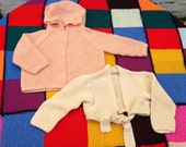 Traditional hand knitted by Nanna's toddler wrap over hoody set 2 year old girls button up hand made set winter clothing cardi gift set knit