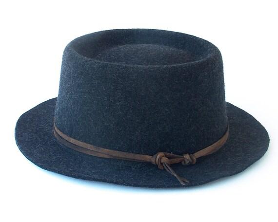Pork Pie Hat Men's Hat Wool Hat Packable Hat Fall Fashion Women's Hat Crushable Hat Rocker Hat Winter Hat Boater Hat Fall Hat Gray Wool Hat