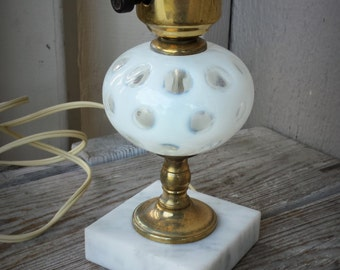 Vintage Glass Lamp with White Marble Base