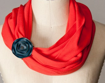infinity scarf, chunky red scarf, red circle scarf with leather scarf cuff