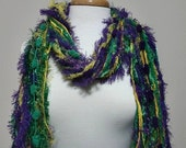 Mardi Gras - Fringe Scarf Knotted Scarves - Green Purple, Yellow Gold, Metallic