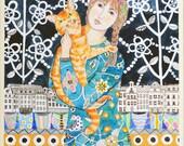 Girl With An Orange Cat Print of an Original Painting