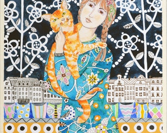 Girl With An Orange Cat Print of an Original Painting