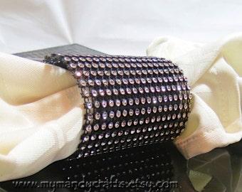 Glittery Black Rhinestone Napkin Ring - New Years - Christmas - Weddings