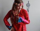 Red Floral Print Tie Dye ...
