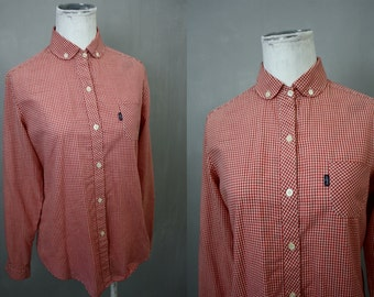Levi Strauss BIG E Red and White Gingham Checked Cotton Blouse | Vintage 1960s | Juniors Womens Med | Americana | Western