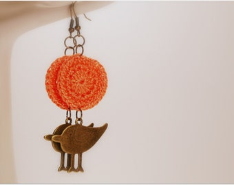 Pastel Orange Handmade Crocheted 1 Inch Circle Appliques With Antiqued Brass/Bronze Finish Bird Charm Earrings