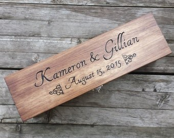 Rustic Wedding wine box, custom engraved and personalized wine ceremony box, love letter box, first fight box, anniversary gift, shower gift