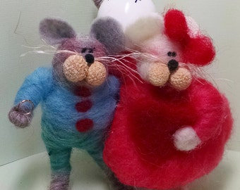 Engagement Mice Felted Wool Figures Ornament - NEW for 2015