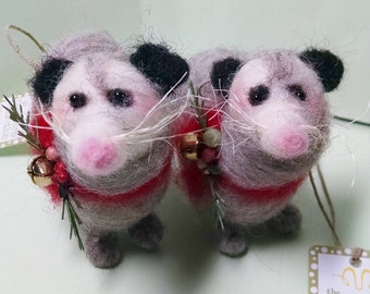 Otis Opossum Felted Wool Ornament - NEW for 2015